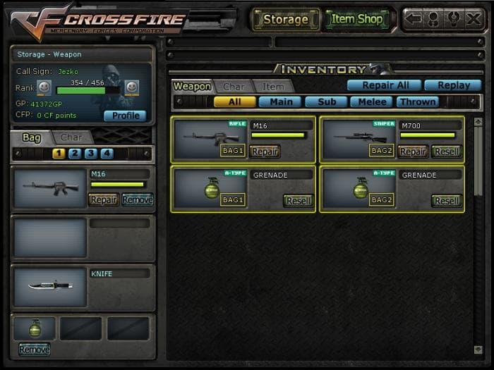 CROSSFIRE - Inventário de equipamentos