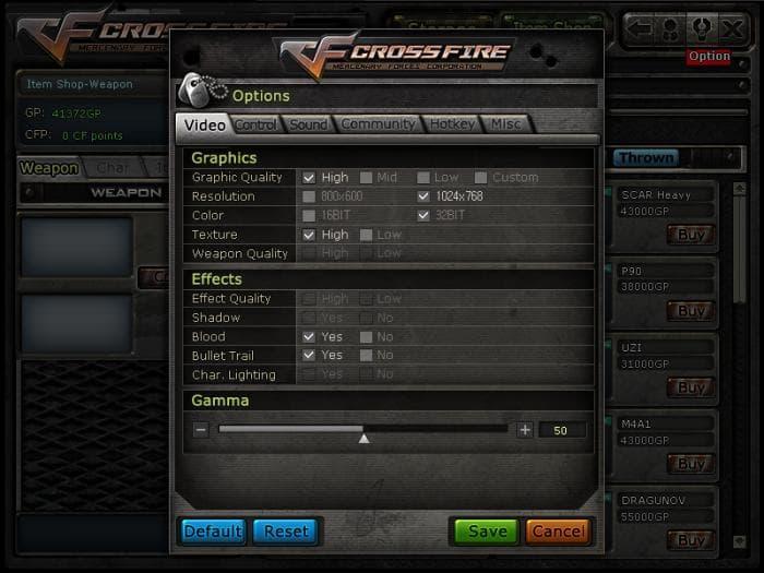 CROSSFIRE - Controle de gráficos