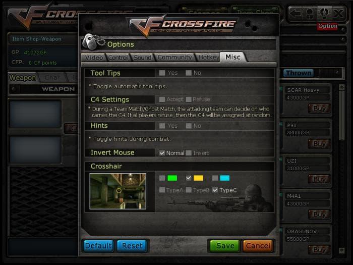 CROSSFIRE - Opções do CrossFire