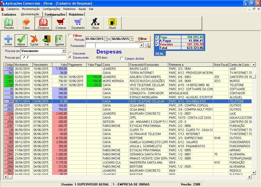 Aplicações Comerciais Obras