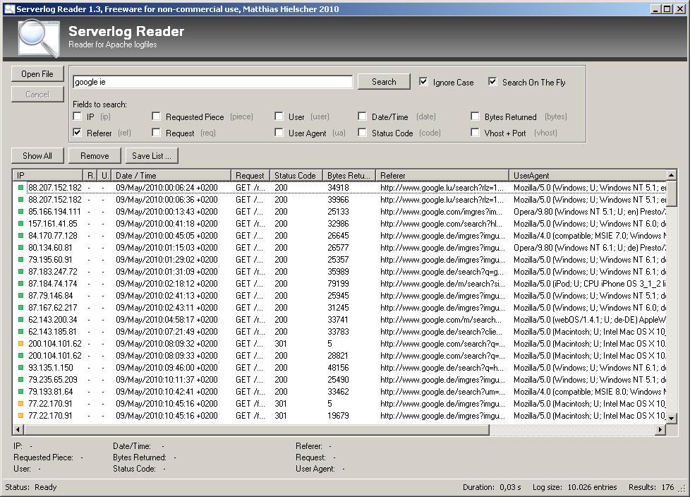 Serverlog Reader
