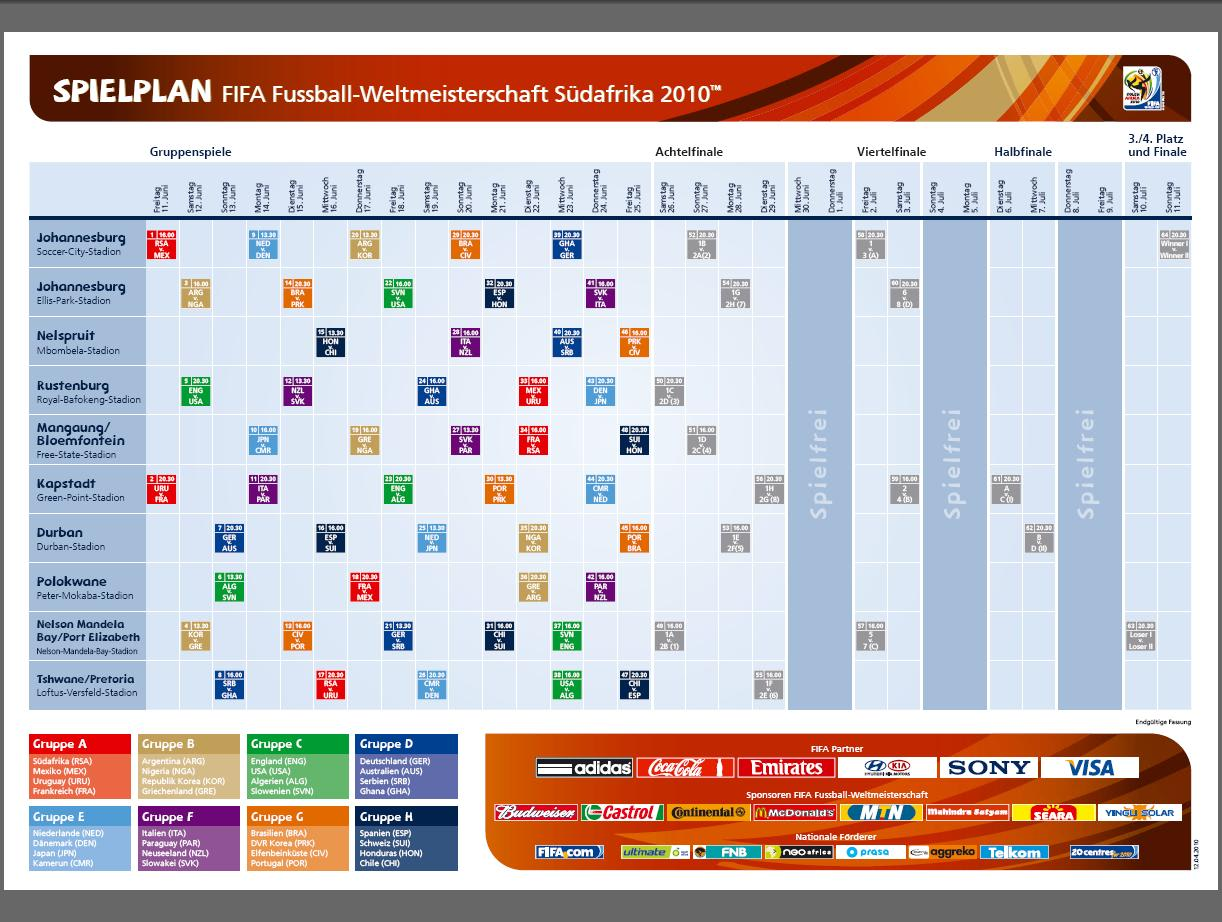 WM Südafrika 2010 Spielplan