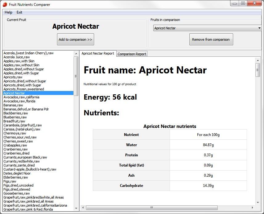 Comparateur nutritionnel de fruits