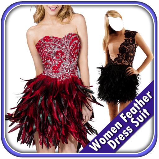 Women Feather Dress Suit
