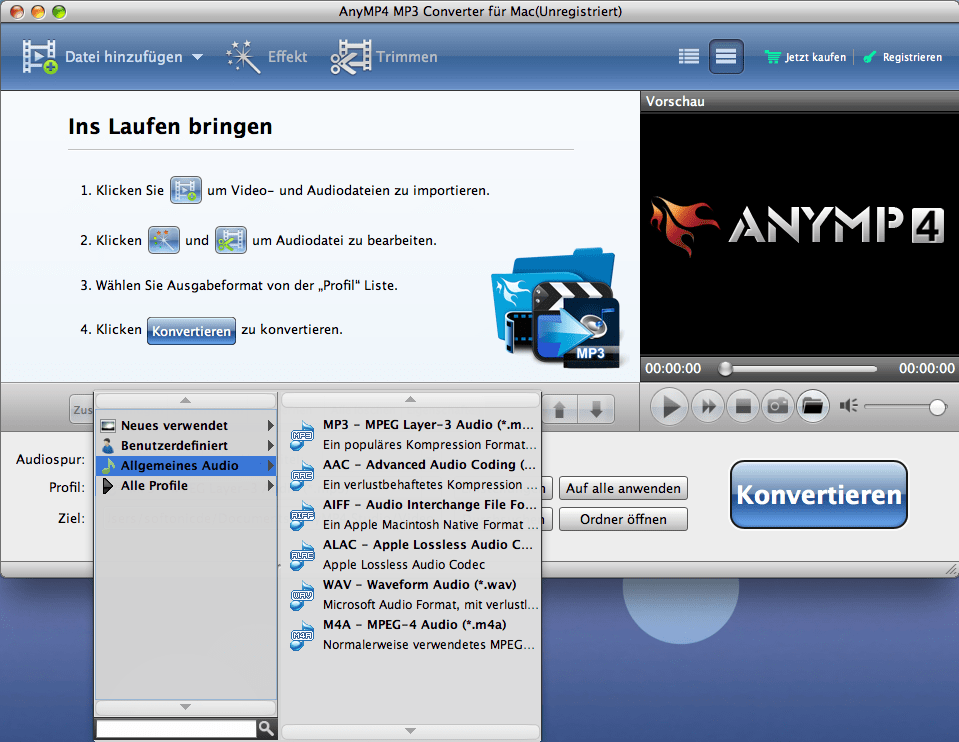 AnyMP4 MP3 Konverter für Mac
