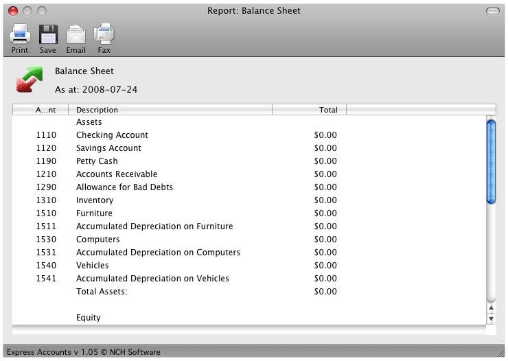 Express Accounts Free for Mac Mac Download – Professional Balance Sheet