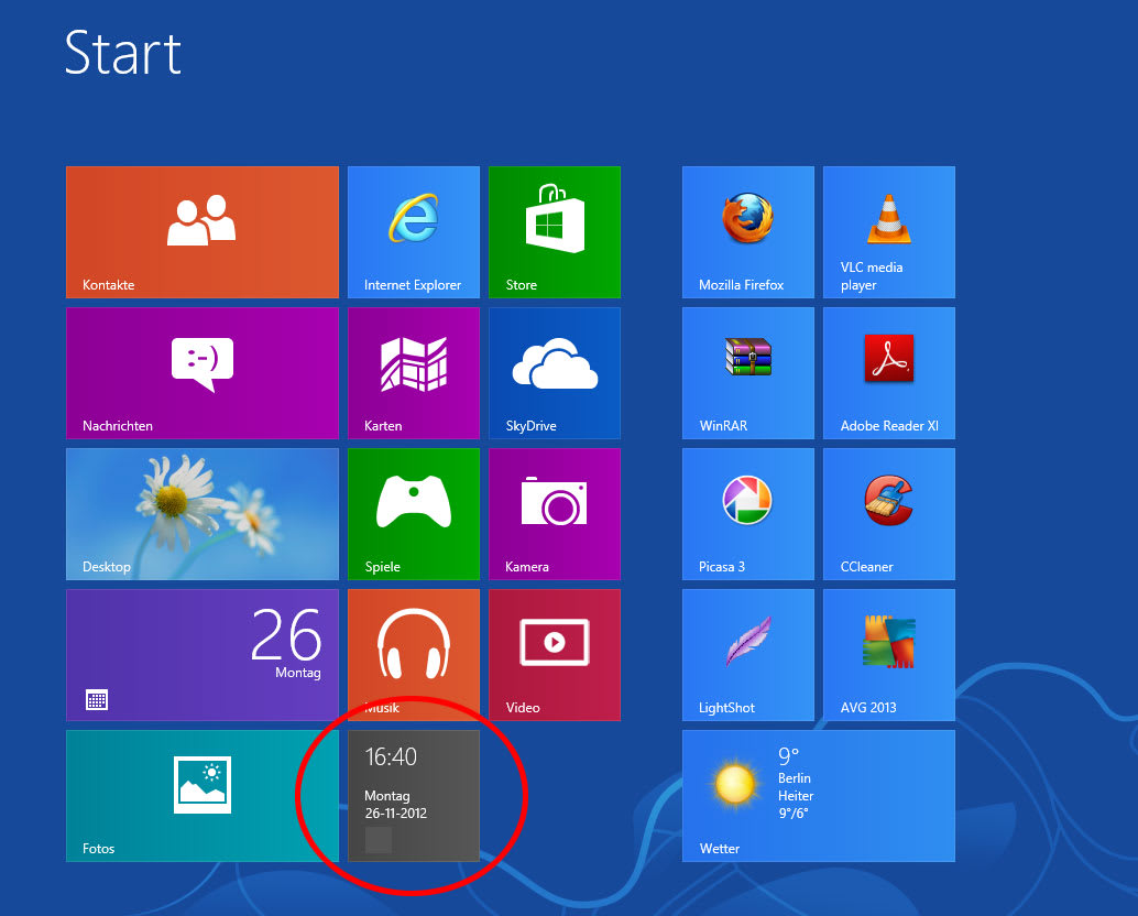 Clock Tile für Windows 10
