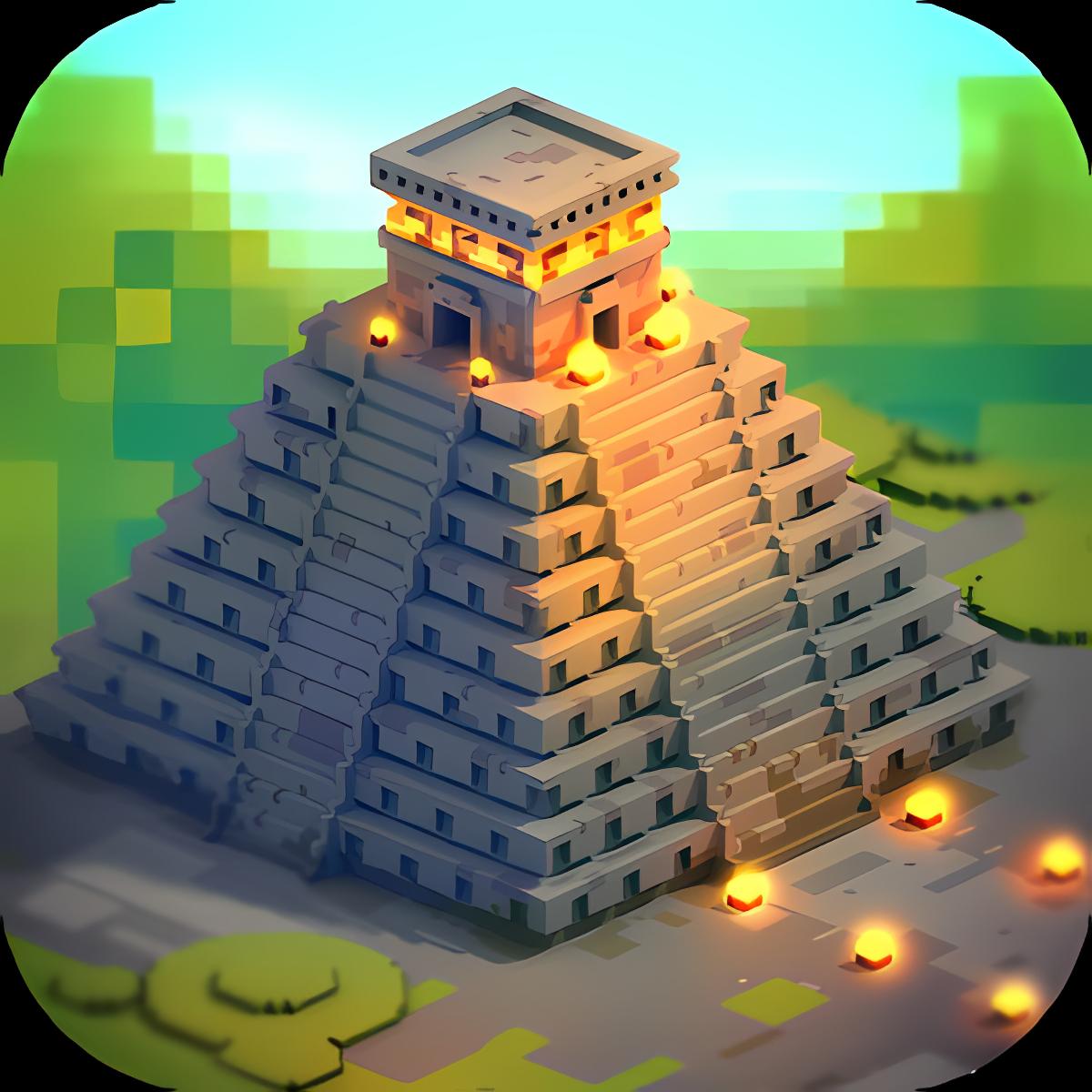 Aztec Craft Ancient Blocky City Building Games 3D