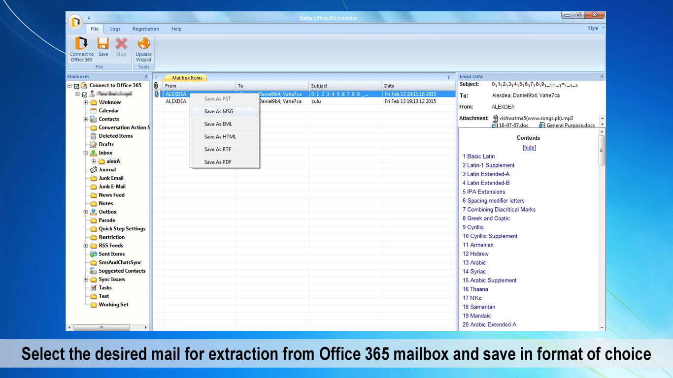 Stellar Office 365 Extractor