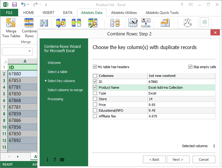 Combine Rows Wizard for Microsoft Excel