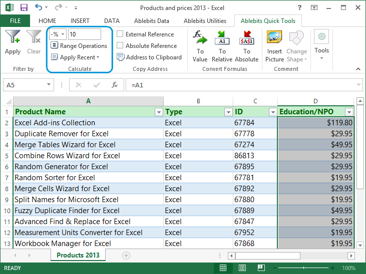 Quick Tools for Microsoft Excel
