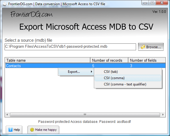 Export Microsoft Access MDB to CSV