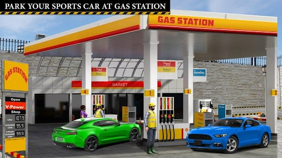 Sports Car Gas Station Parking