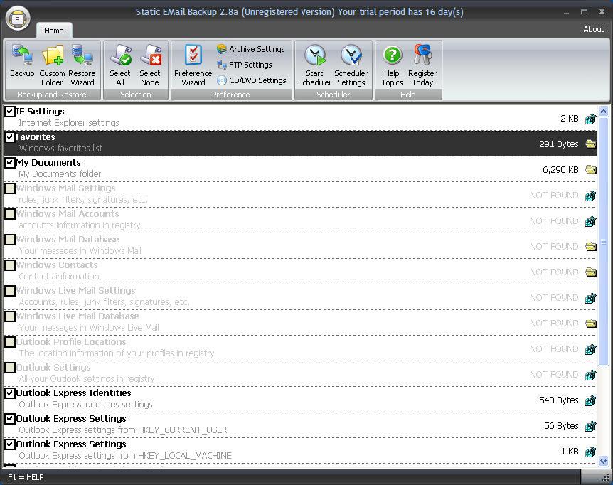 Static Windows Live Mail Backup