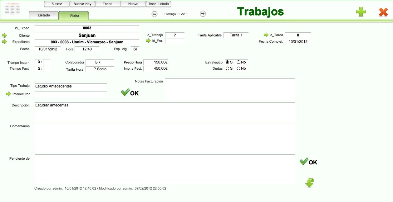 Time Report. Gestion despachos Abogados