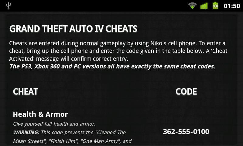 Cheats pour GTA