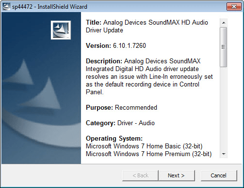 ADI SoundMax AC97 Integrated