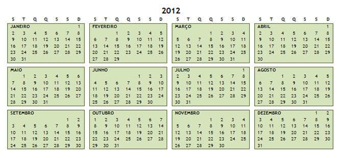 Calendário de 2011-2013
