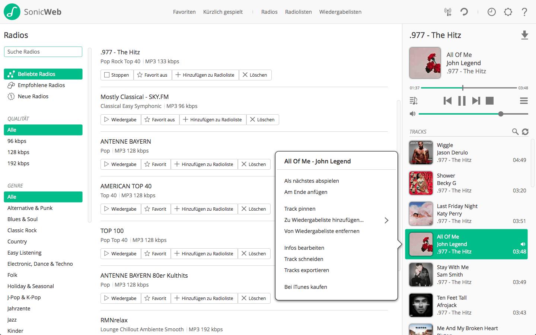 SonicWeb Internet Radio Player und Recorder
