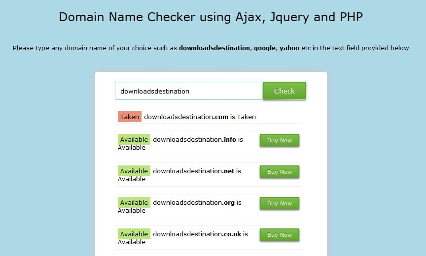 Domain Checker Script in PHP