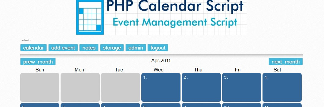 PHP Calendar and Event Management script
