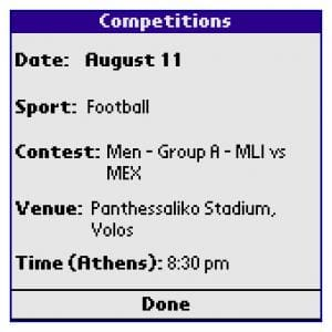 Athens 2004 Schedule - Lite Edition