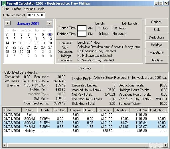 Payroll Calculator 2002