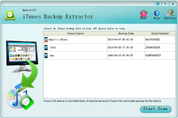 Amacsoft iTunes Backup Extractor