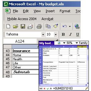 Mobile Spreadsheet 2004
