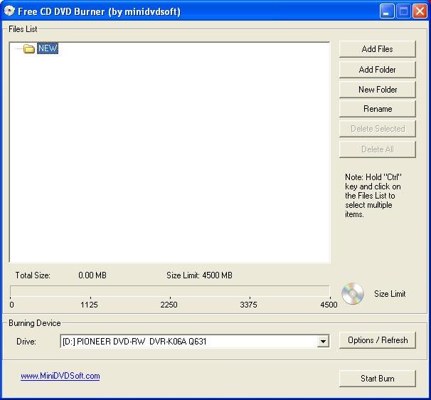 MiniDVDSoft Free CD DVD Burner