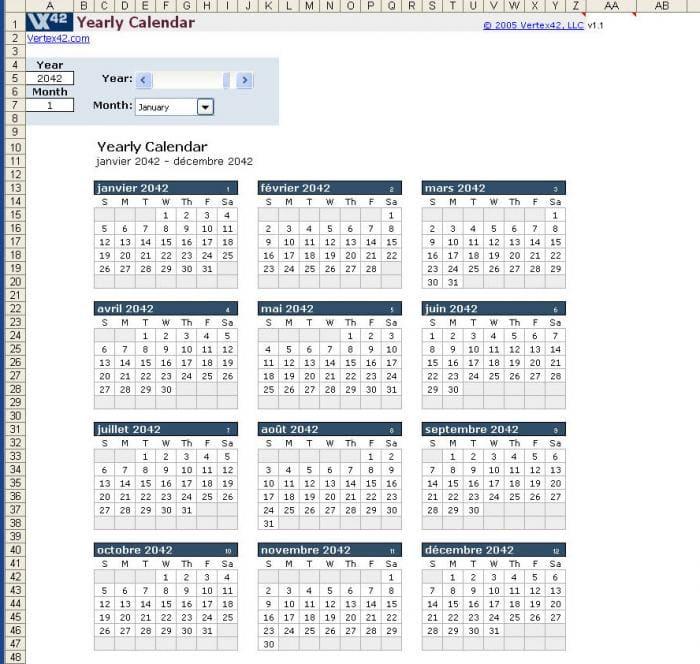 Plantilla de calendario anual en Excel - Descargar