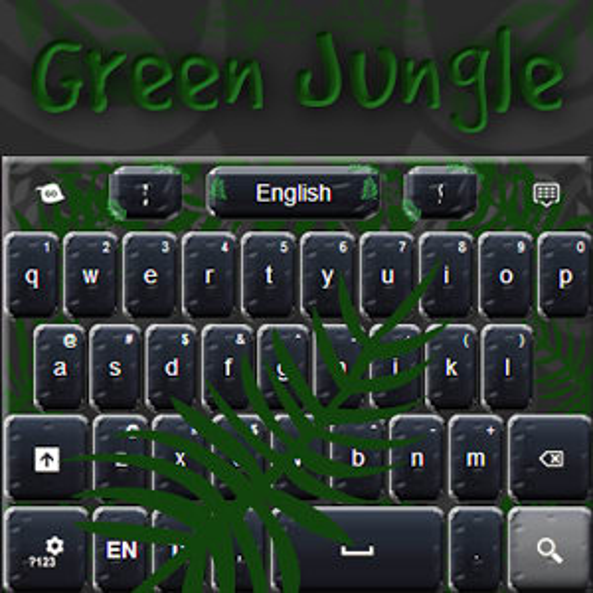 Teclado verde de la selva