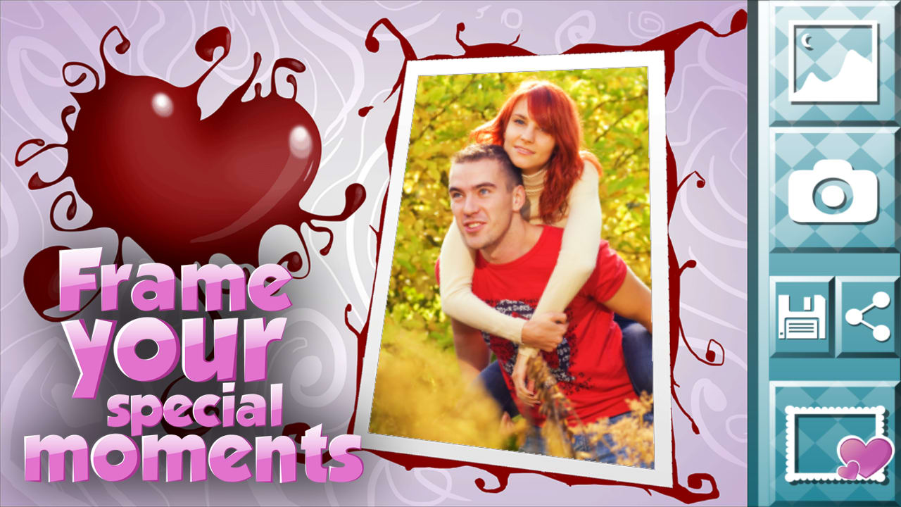 as the name suggests most of these frames have a romantic theme which makes them ideal for couples who want to create photos to mark a special occasion - Heart Frame App