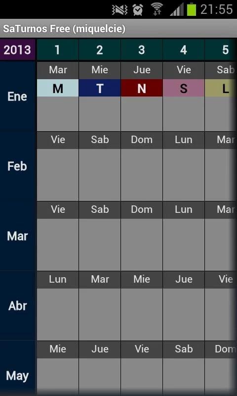 SaTurnos Free Calendario