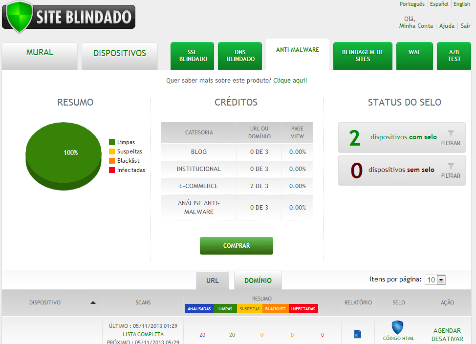 Selo AntiMalware (Site Blindado)