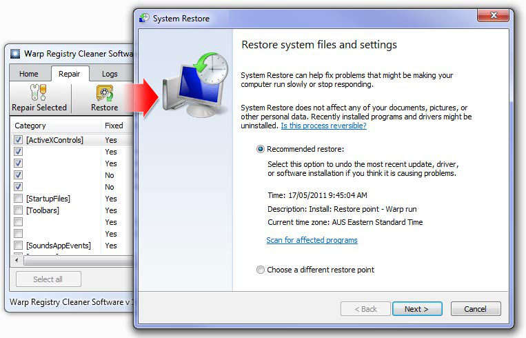 Warp Registry Cleaner Software