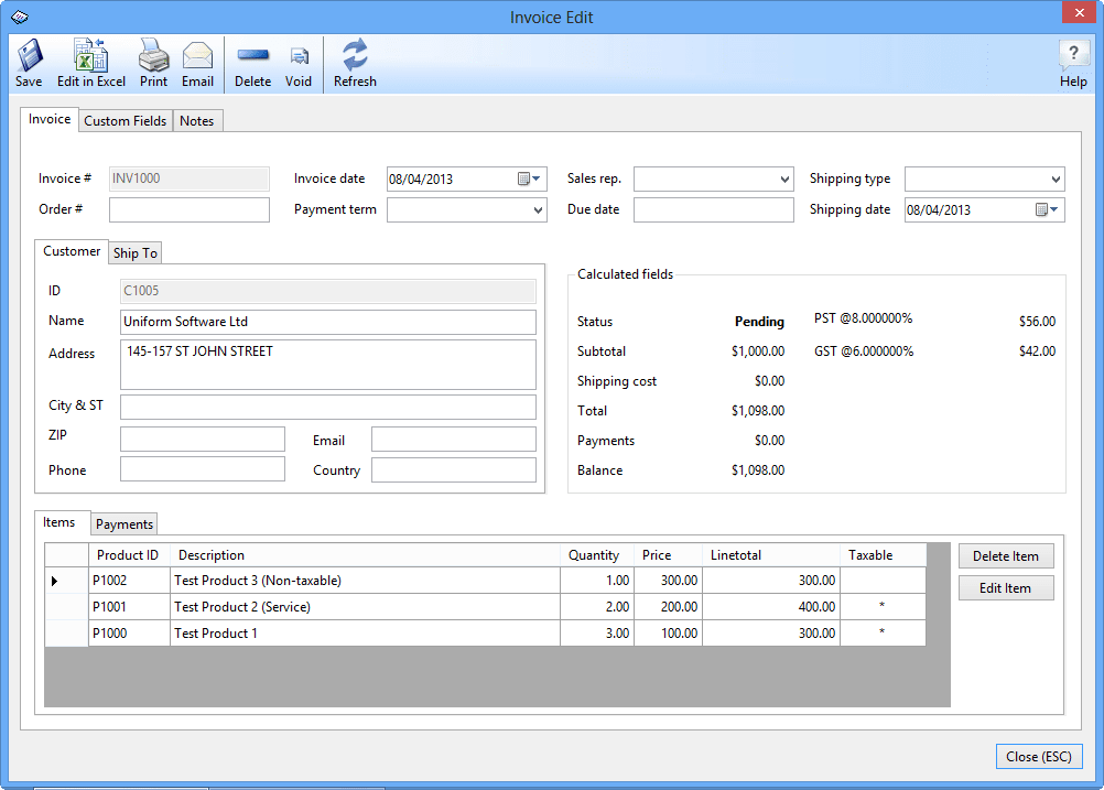 Uniform Invoice Software Net