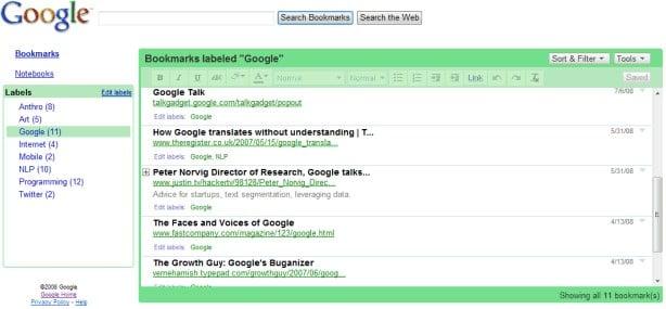 Google Bookmarks