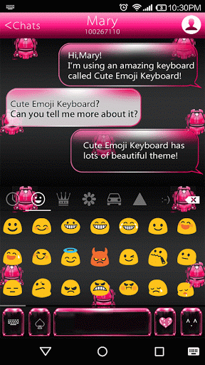 Pink Neon Emoji Keyboard Theme