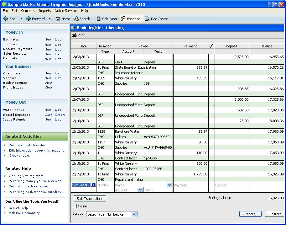 quickbooks simple start - download, Invoice examples