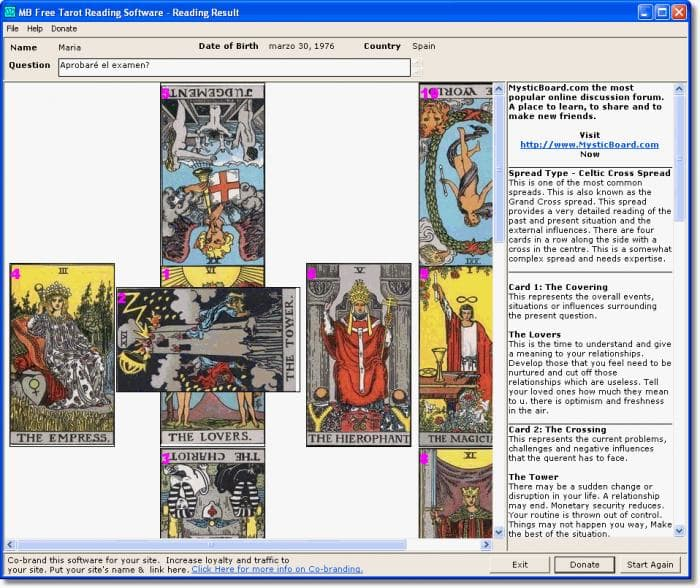 MB Free Tarot Reading Software