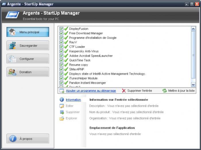 Argente StartUp Manager