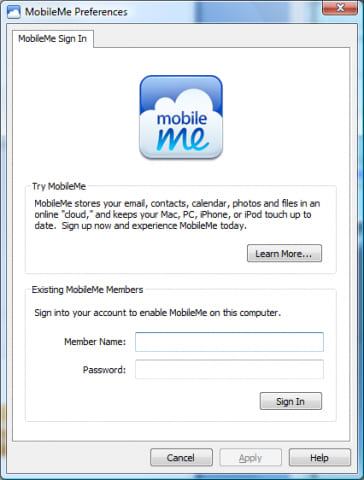 MobileMe Control Panel