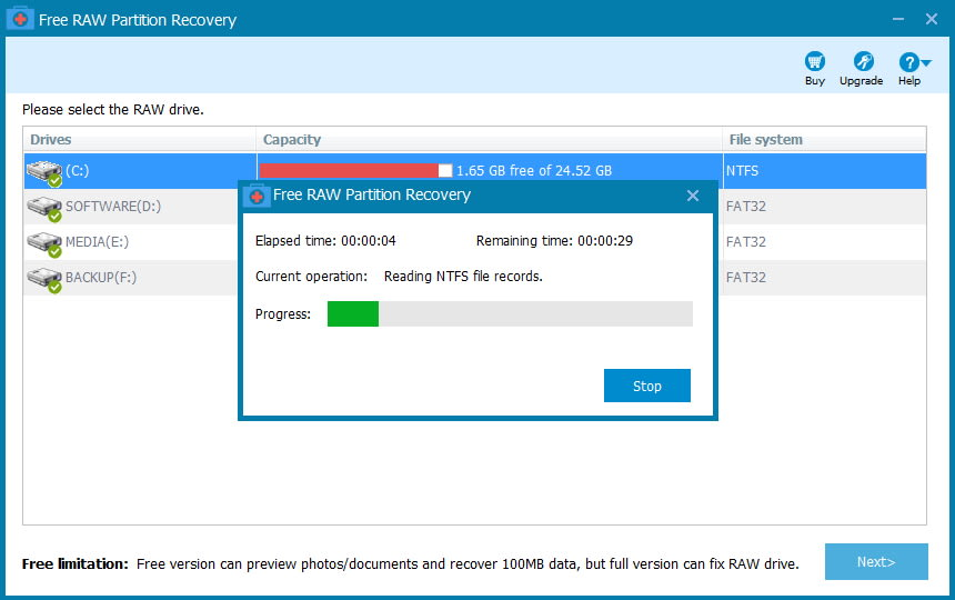 Free RAW Partition Recovery
