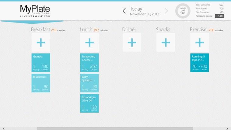 Livestrong.com Calorie Tracker for Windows 10