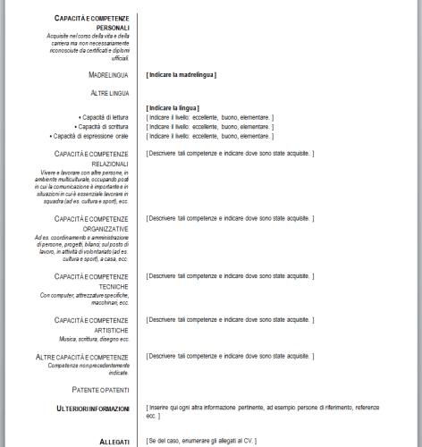 Curriculum Vitae Europeo (da compilare)