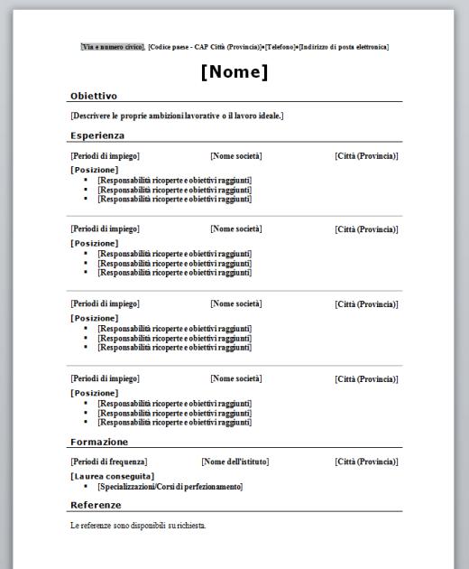 Curriculum Vitae Cronologico (da compilare)