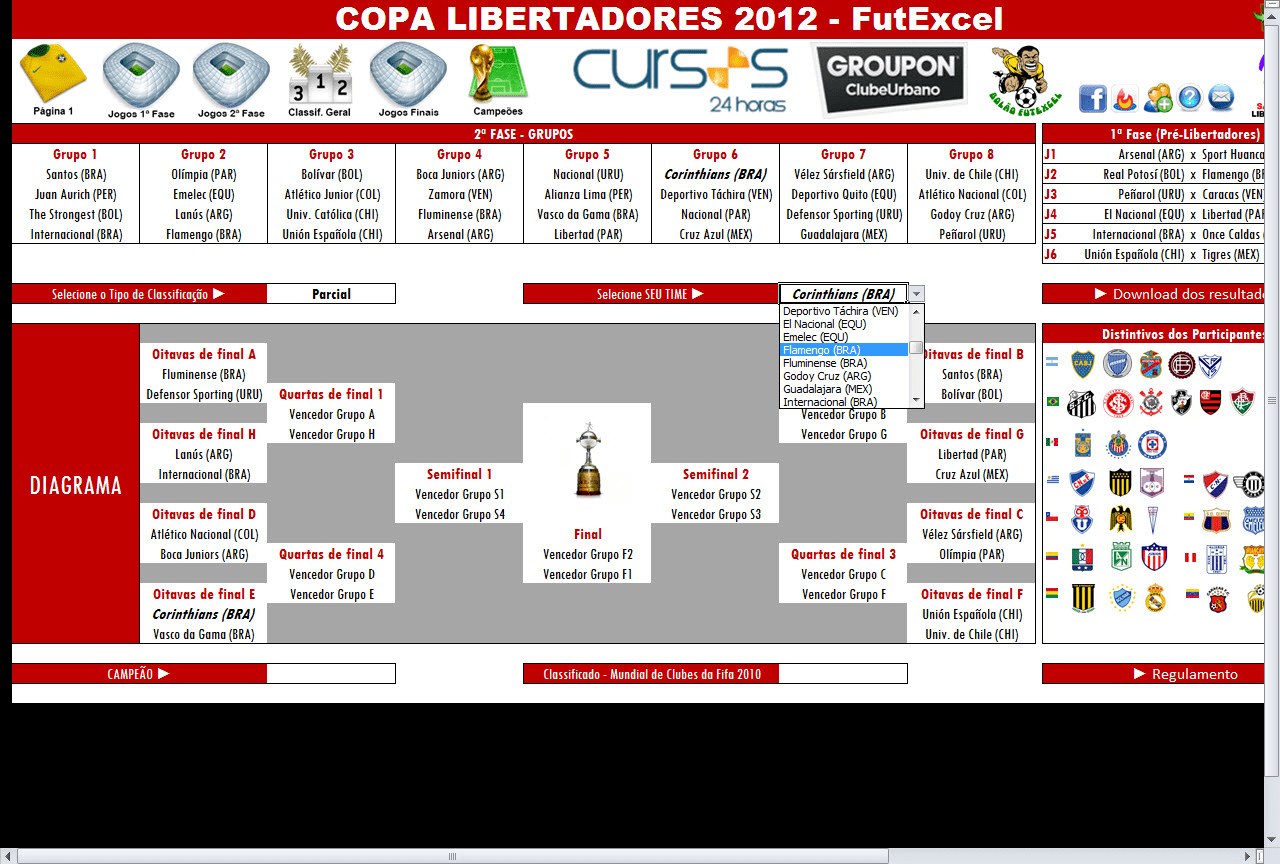 Tabela da Copa Libertadores 2012