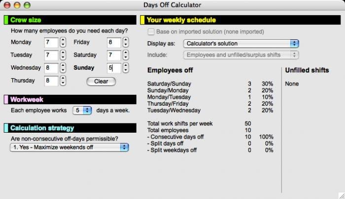 Days Off Calculator
