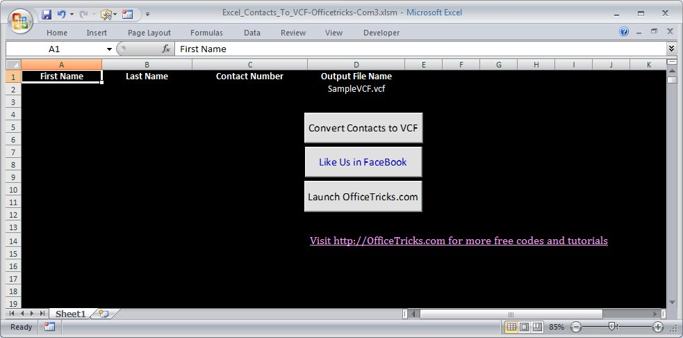 Excel To VCard Converter